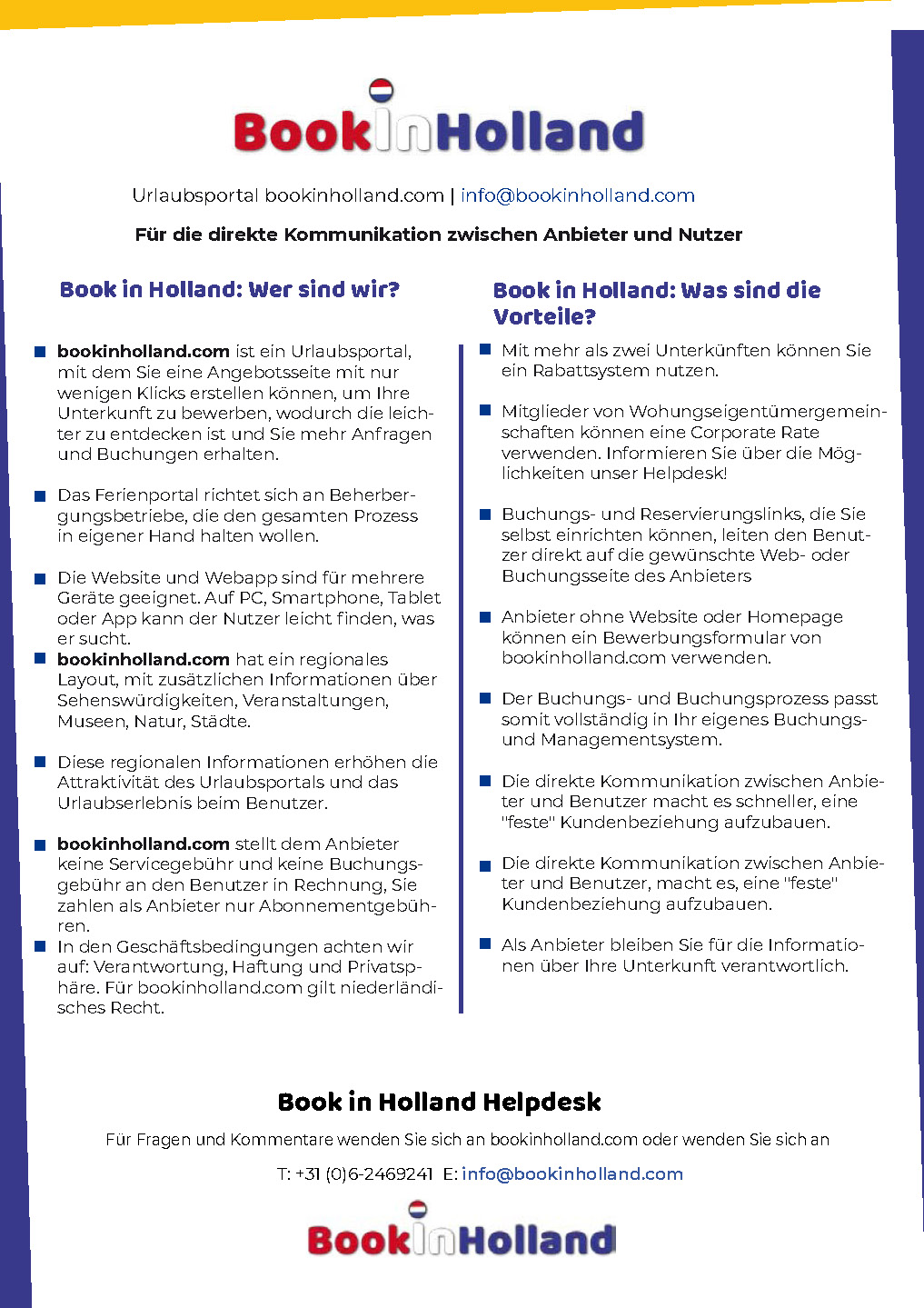 Book in Holland Flyer