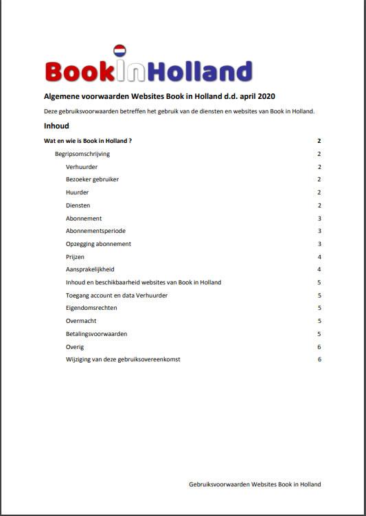 Bookinholland gebruikersvoorwaarden april 2020